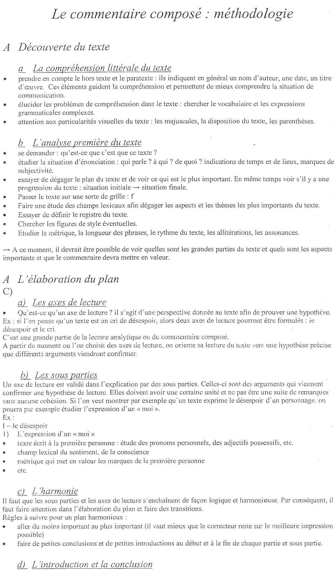 Méthodologie Du Commentaire De Texte En Français
